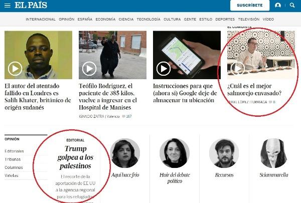 Ejemplos de diferentes audiencias en El País